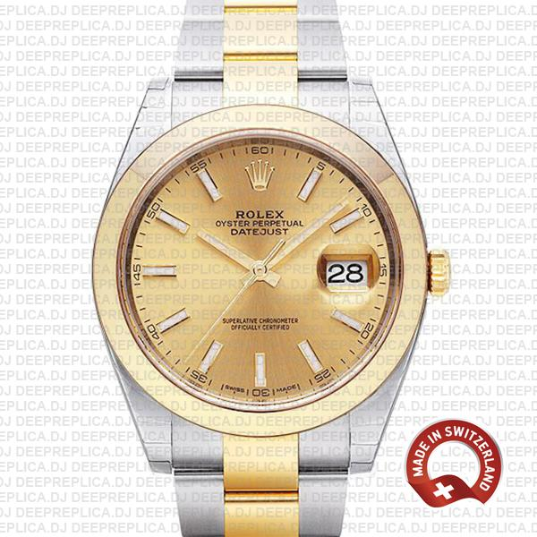 Rolex Oyster Perpetual Datejust 41 Two-Tone 18k Yellow Gold, in Oystersteel Bracelet with Smooth Bezel Gold Dial