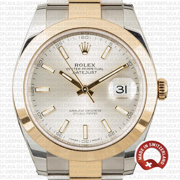 Rolex Datejust 41mm 18k Yellow Gold Two-Tone, 904L Steel Smooth Bezel Replica Watch