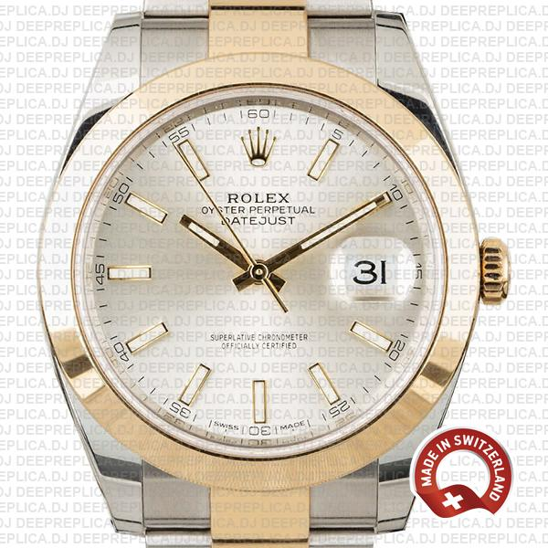 Rolex Datejust 41 Oyster 2 Tone 18k Yellow Gold Smooth Bezel Silver Dial Stick Markers 126303 Swiss Replica