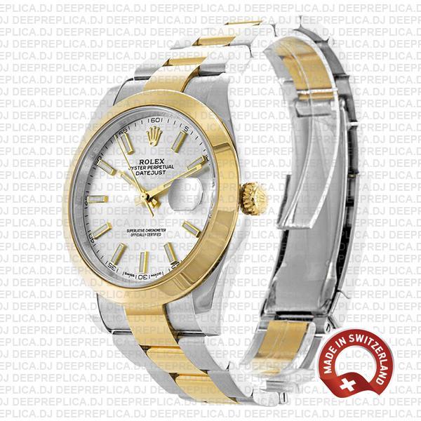 Rolex Datejust 41mm 18k Yellow Gold Two-Tone, 904L Steel Smooth Bezel Replica