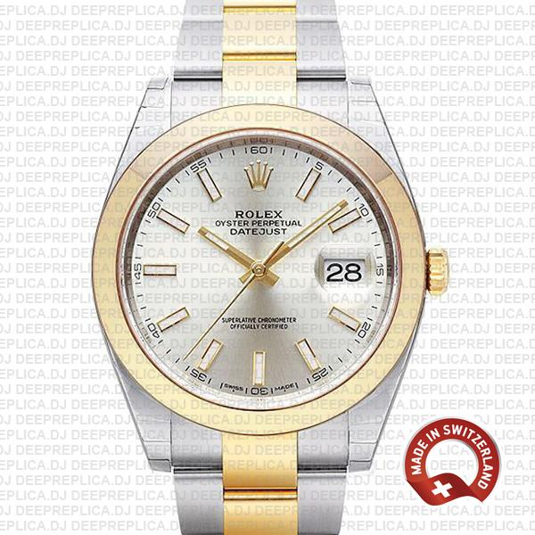 Rolex Datejust 41 Silver Dial Two-Tone Rolex Replica Watch