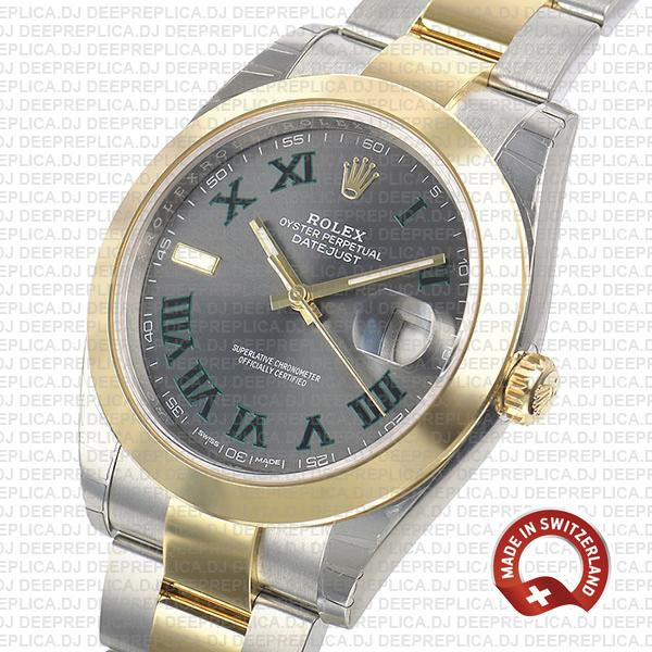 Rolex Datejust Two-Tone 18k Yellow Gold 41mm Slate Grey Roman Dial, Stainless Steel Replica Watch