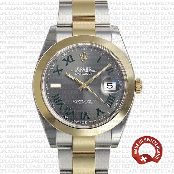 Rolex Datejust Two-Tone Slate Grey Dial Roman Replica Watch