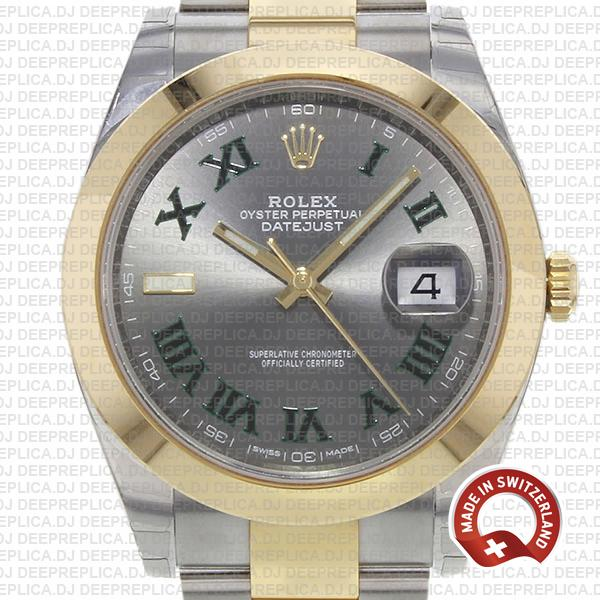 Rolex Datejust Two-Tone 18k Yellow Gold 41mm Slate Grey Roman Dial, Stainless Steel