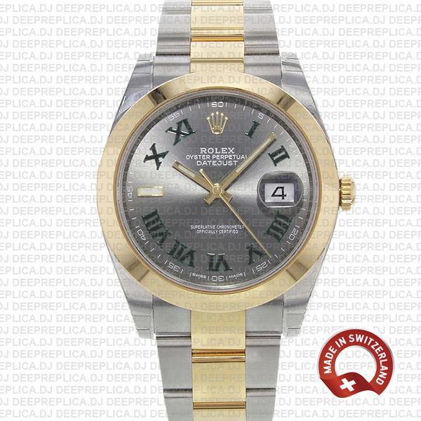 Rolex Datejust Two-Tone Slate Grey Dial Roman Swiss Replica Watch