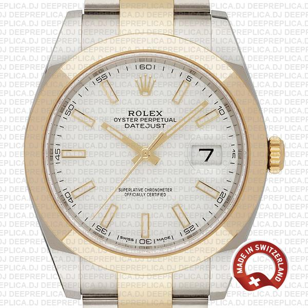 Rolex Oyster Perpetual Datejust 18k Yellow Gold Two-Tone, White Dial 904L Stainless Steel 41mm