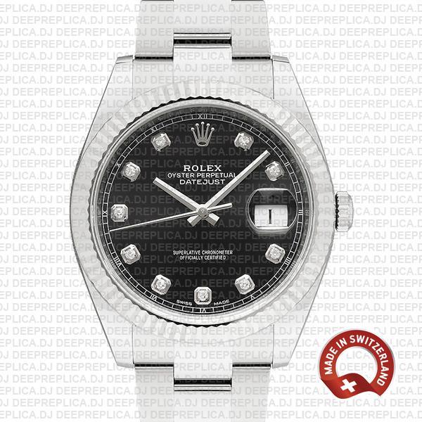 Rolex Datejust 41 Black Diamond Dial | Rolex Replica Watch
