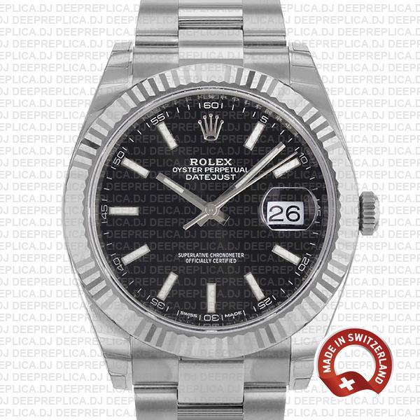 Rolex Datejust 41 904L Steel Black Stick Dial 18k White Gold Fluted Bezel 41mm