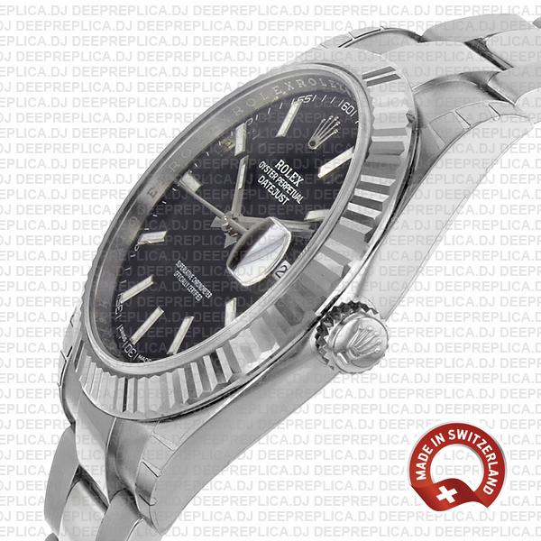 Rolex Datejust Black Dial Oyster Bracelet | Clone Rolex Watch