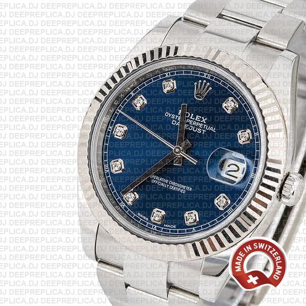 Rolex Datejust 41 Oyster 904l Steel 18k W Gold Fluted Bezel Blue Dial Diamond Markers 126334 Swiss Replica