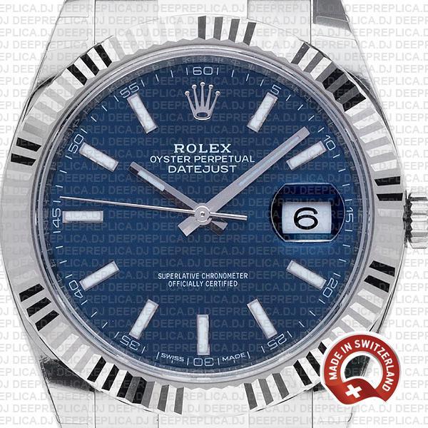Rolex Datejust 904L Steel Blue Dial, 18k White Gold Fluted Bezel 41mm Oyster Bracelet Swiss Replica