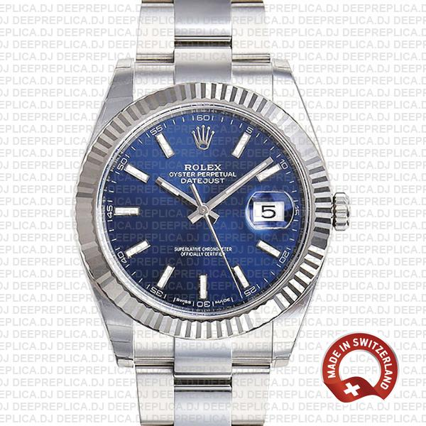 Rolex Datejust 41 Stainless Steel Blue Dial Swiss Replica Watch