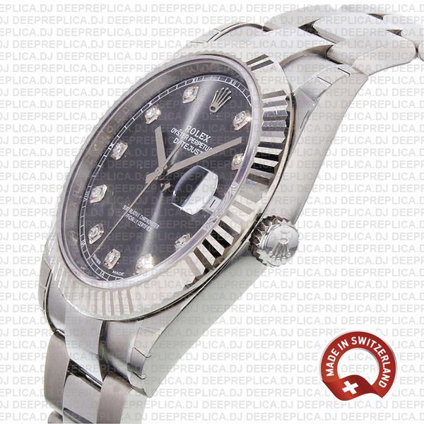 Rolex Datejust Dark Rhodium Grey Diamond Dial Replica Watch