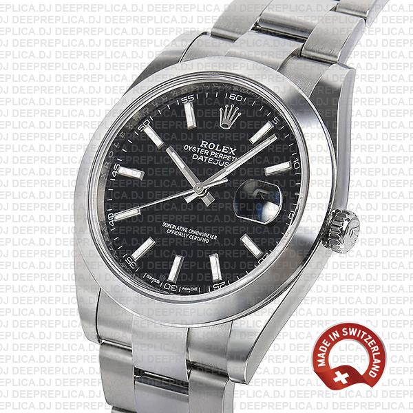 Rolex Datejust 41 Oyster Steel Smooth Bezel Black Dial Stick Markers 126300