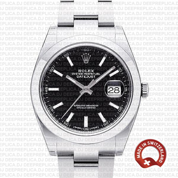 Rolex Datejust 41 Black Dial Swiss Replica Watch | Deepreplica