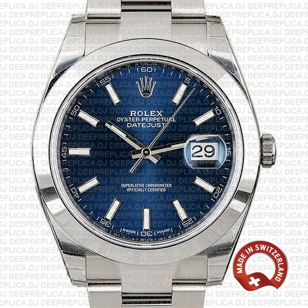 Rolex Datejust 41 Stainless Steel Blue Dial Rolex Replica Watch