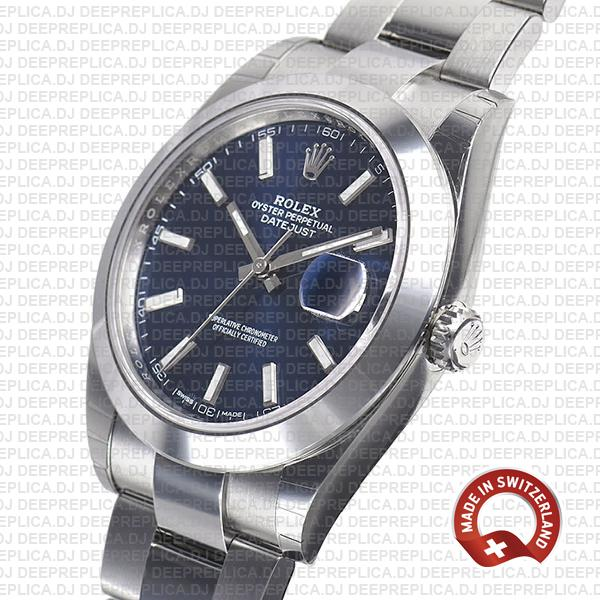 Rolex Datejust 904L Steel Stainless Blue Dial Stick Markers Smooth Bezel & Oyster Bracelet 41mm