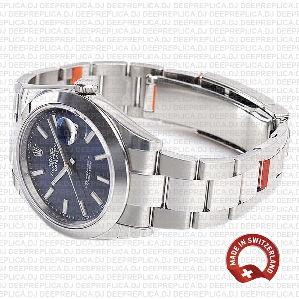 Rolex Datejust 41 Oyster Steel Smooth Bezel Blue Dial Stick Markers 126300
