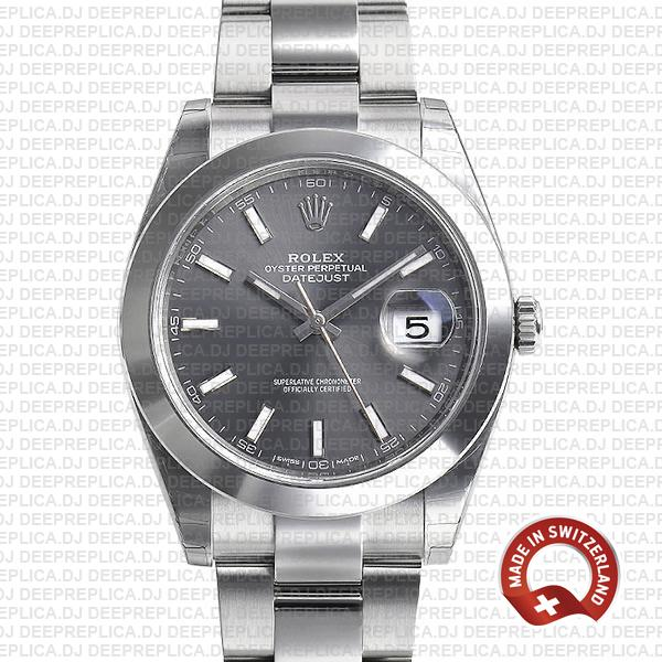 Rolex Datejust 41 904L Steel Dark Rhodium Grey Dial, Smooth Bezel in Oyster Bracelet