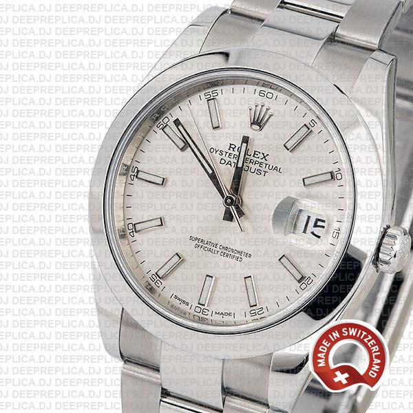 Rolex Datejust Stainless Steel Silver Dial 41mm Rolex Replica Watch with Smooth & Fixed Bezel