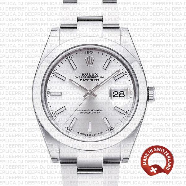 Rolex Datejust Silver Dial Oyster Bracelet | Clone Replica Watch