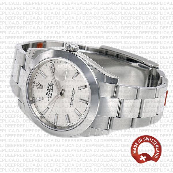 Rolex Datejust Silver Dial Oyster Bracelet   Clone Replica Watch