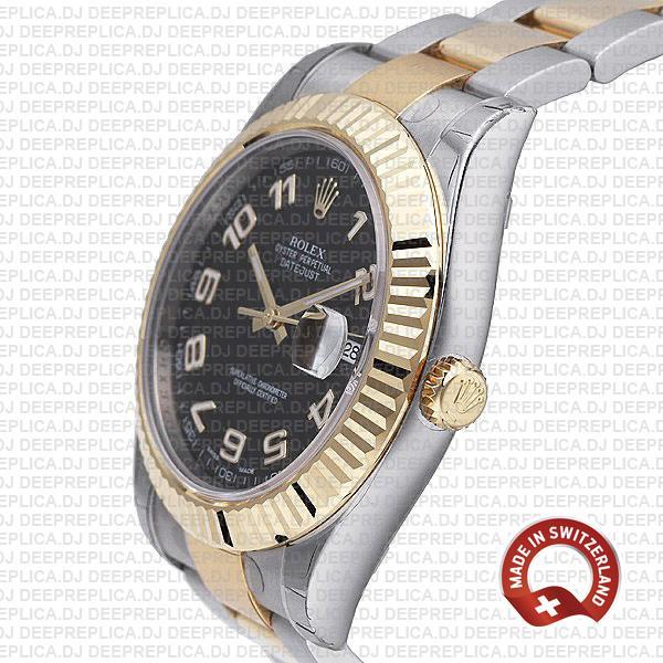 Rolex Datejust Ii 2 Tone Black Arabic 41mm 116333 Swiss Replica