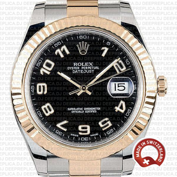 Rolex Datejust 41mm Two-Tone 18k Yellow Gold/904L Steel Bracelet with Fluted Bezel Black Dial Arabic