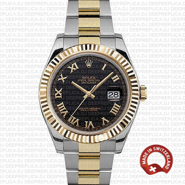 Rolex Datejust ΙΙ Two-Tone 18k Yellow Gold, 904L Steel Fluted Bezel Black Dial Gold Roman Markers 41mm