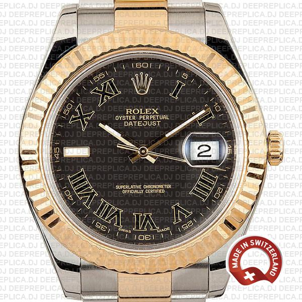Rolex Replica Datejust ΙΙ 18k Yellow Gold, Stainless Steel in Black Roman Dial with Fluted Bezel Clone Watch