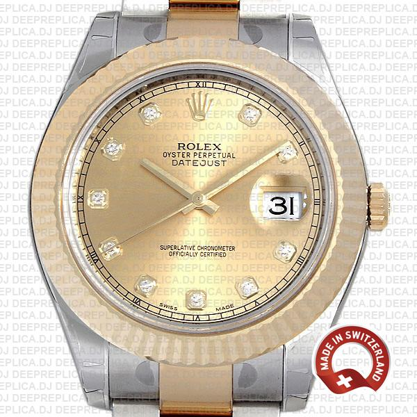 Rolex Datejust II Oyster Two-Tone 18k Yellow Gold, 904L Steel Fluted Bezel Gold Dial Diamond Markers 41mm