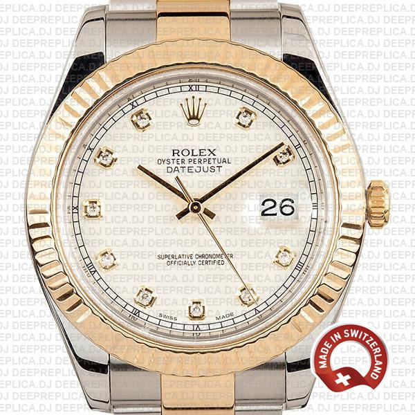 Rolex Datejust ΙΙ Two-Tone 18k Yellow Gold, 904L Steel Fluted Bezel Ivory White Dial Diamond Markers 41mm