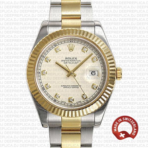 Rolex Datejust ΙΙ Two-Tone Ivory White Diamond Swiss Replica