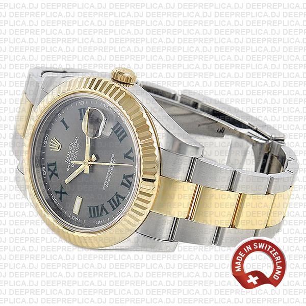 Rolex Datejust ΙΙ 18k Yellow Gold Two-Tone, 904L Steel Fluted Bezel Slate Grey Dial Green Roman