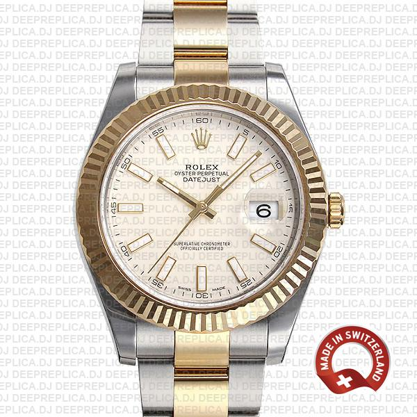 Rolex Datejust ΙΙ Oyster Bracelet Two-Tone 18k Yellow Gold, 904L Steel Fluted Bezel White Dial 41mm