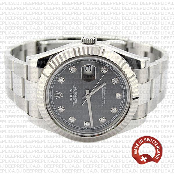 Rolex Datejust Ii Steel 18k White Gold Black Diamonds 41mm 116334 Swiss Replica