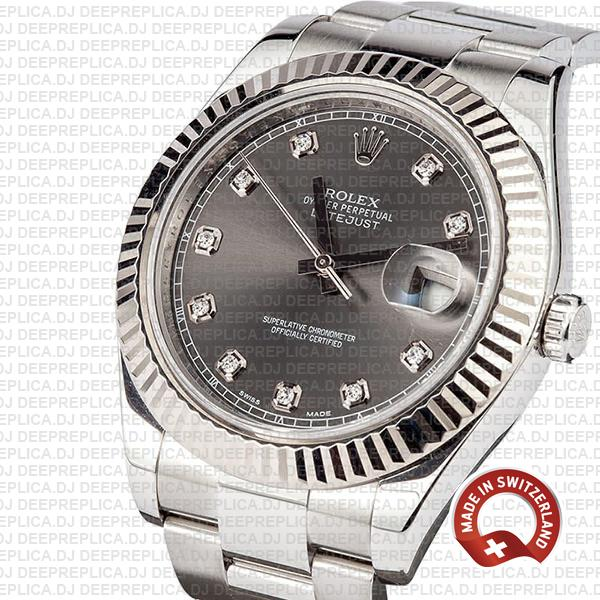 Rolex Datejust ΙΙ Oyster Dark Rhodium Grey Dial Diamond Markers 904L Steel 18k White Gold Fluted Bezel 41mm