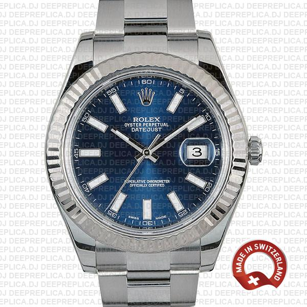 Rolex Datejust ΙΙ 904L Steel Blue Dial Stick Markers 18k White Gold Fluted Bezel 41mm Replica Watch