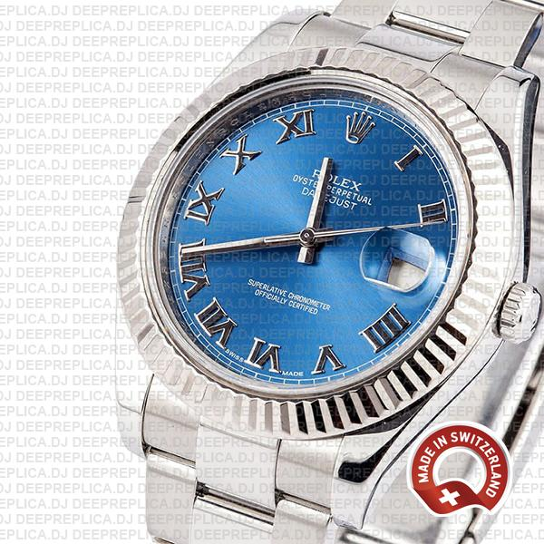 Rolex Datejust ΙΙ 904L Steel Blue Dial Roman Markers 18k White Gold Fluted Bezel 41mm Swiss Replica Watch