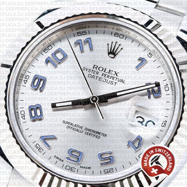 Rolex Datejust ΙΙ 904L Steel Silver Dial Arabic Numerals 18k White Gold Fluted Bezel 41mm Rolex Replica