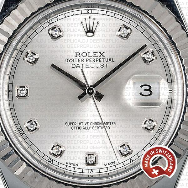 Rolex Datejust ΙΙ Silver Dial Diamond Markers 904L Steel 18k White Gold Fluted Bezel 41mm
