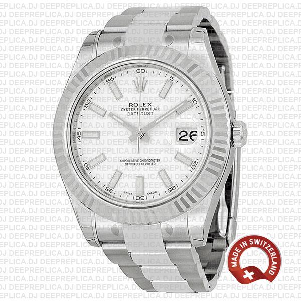 Rolex Datejust Ii Steel 18k White Gold White 41mm 116334 Swiss Replica