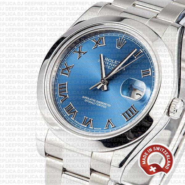 Rolex Oyster Perpetual Datejust II 904L Steel 41mm Blue Dial with Smooth Bezel 116300 Rolex Replica