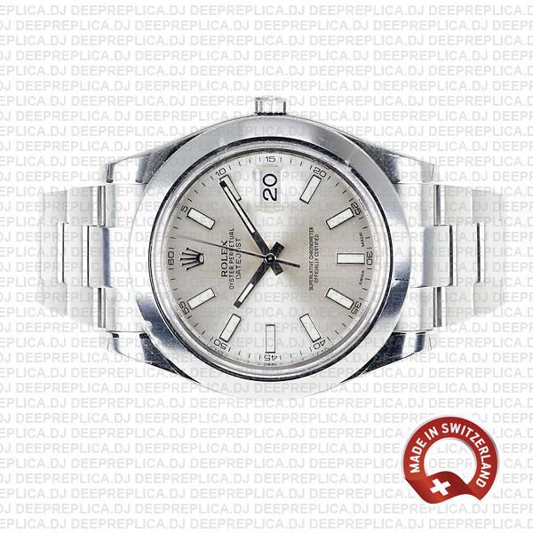Rolex Datejust Ii Steel Silver Dial Stick Markers 41mm 116300