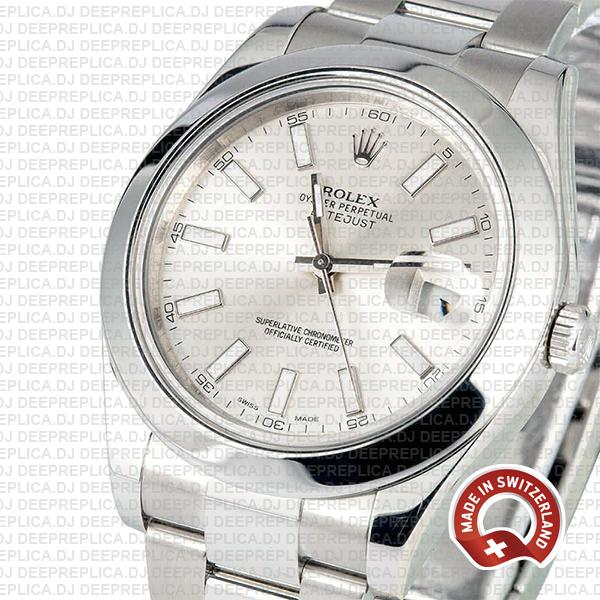 Rolex Datejust II Silver Dial with Stainless Steel Smooth & Fixed Bezel Swiss Replica Watch