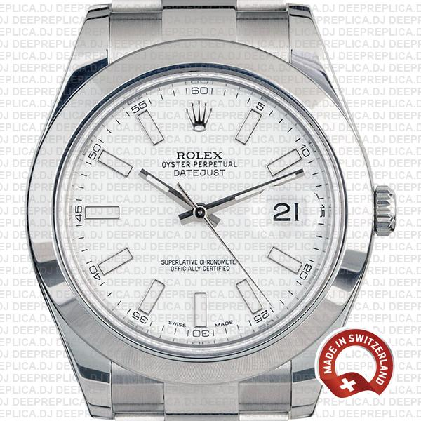 Rolex Datejust Ii Steel White Dial Stick Markers 41mm 116300