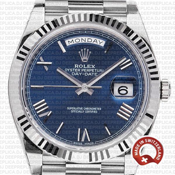 Rolex Day-Date 40 White Gold Blue Roman Dial 904L Steel, President Bracelet with Fluted Bezel Swiss Replica