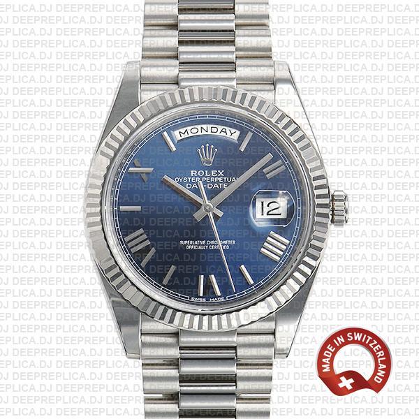 Rolex Day-Date 40 Blue Roman Dial   Best Rolex Replica Watch