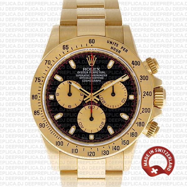 Rolex Daytona Gold Black Dial 40mm | Swiss Replica Watch