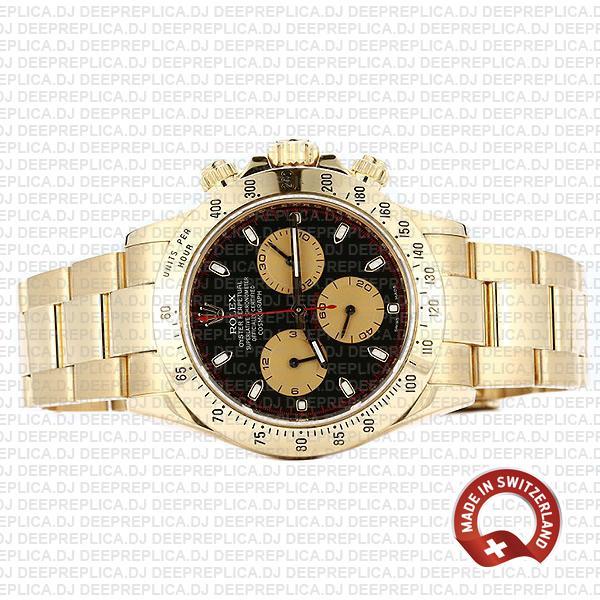 Rolex Daytona 18k Yellow Gold Black Dial with Gold Subdials, Oyster Bracelet & Fixed Bezel 116528
